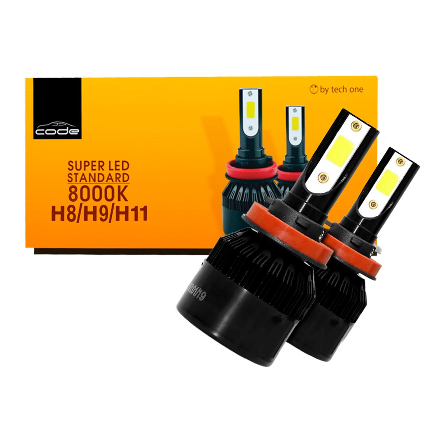 Par Lâmpada Super LED Flip Cob Standard H8 H9 H11 6000K 74W 12V 24V