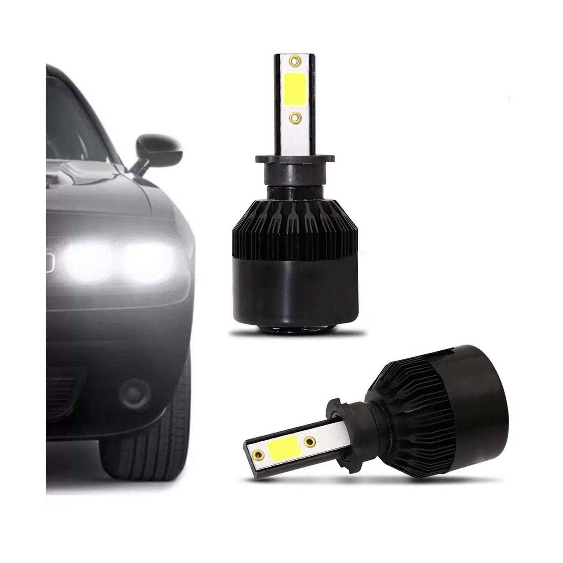Par Lâmpadas Super LED Standard H3 6000K 74W 7800 Lúmens Luz Branca tg1001h3