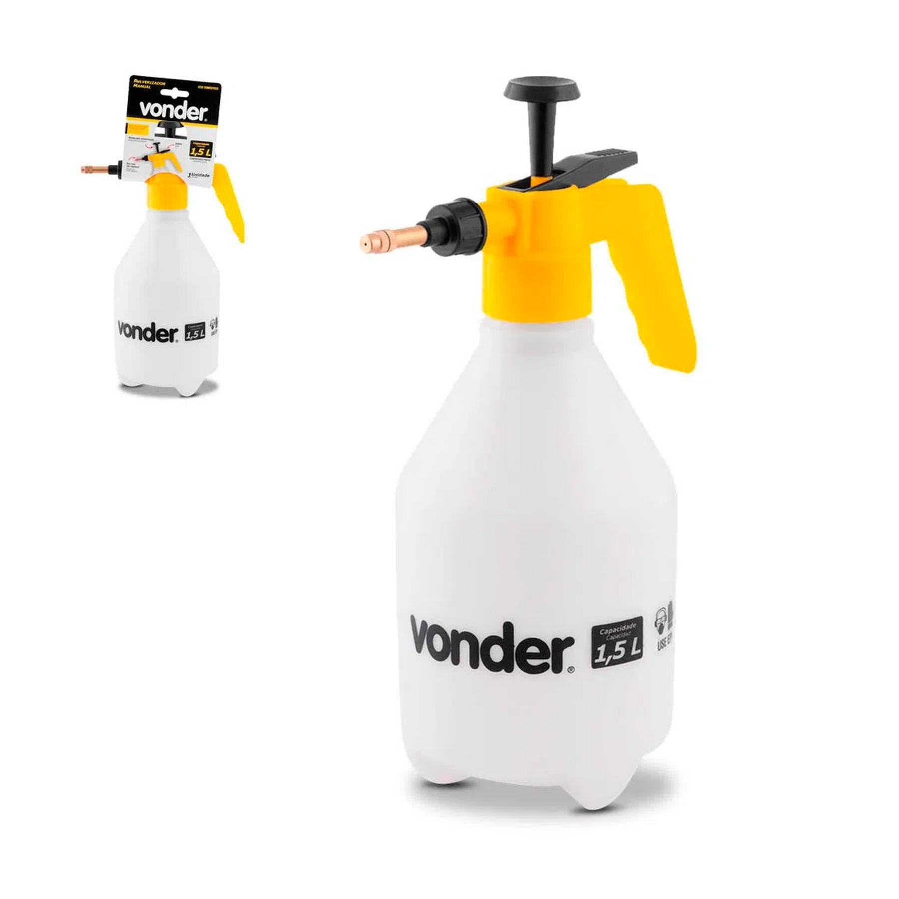 Pulverizador Compressor 1,5 L Vonder Uso Geral Preto e Transparente