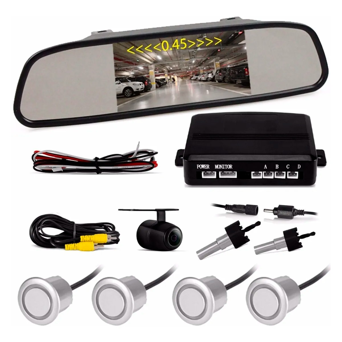 Retrovisor Com Câmera De Ré - Tech One (Sensores Cor: Branco)