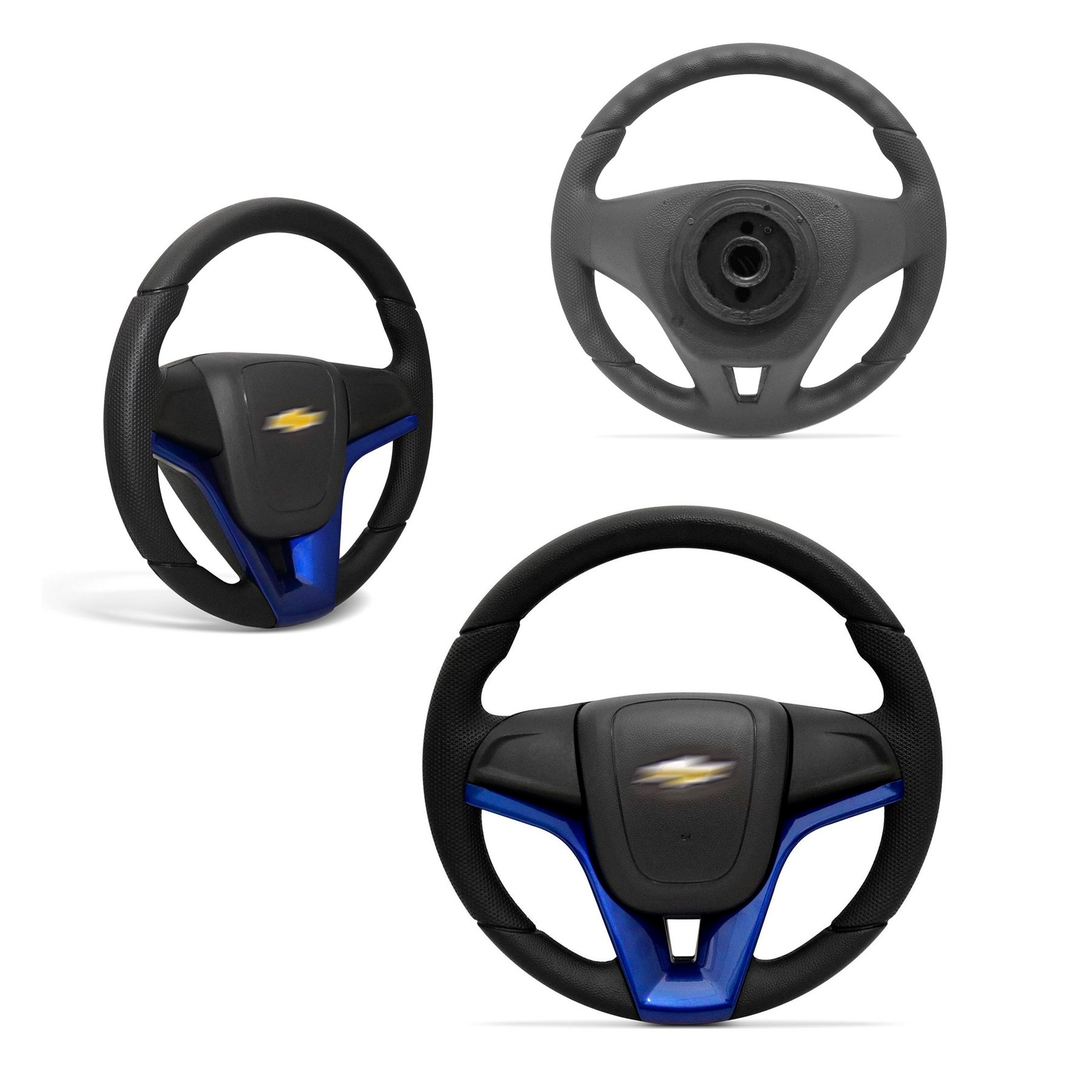 Volante Esportivo Cruze  Preto e Azul com Acionador de Buzina e Cubo Embutido
