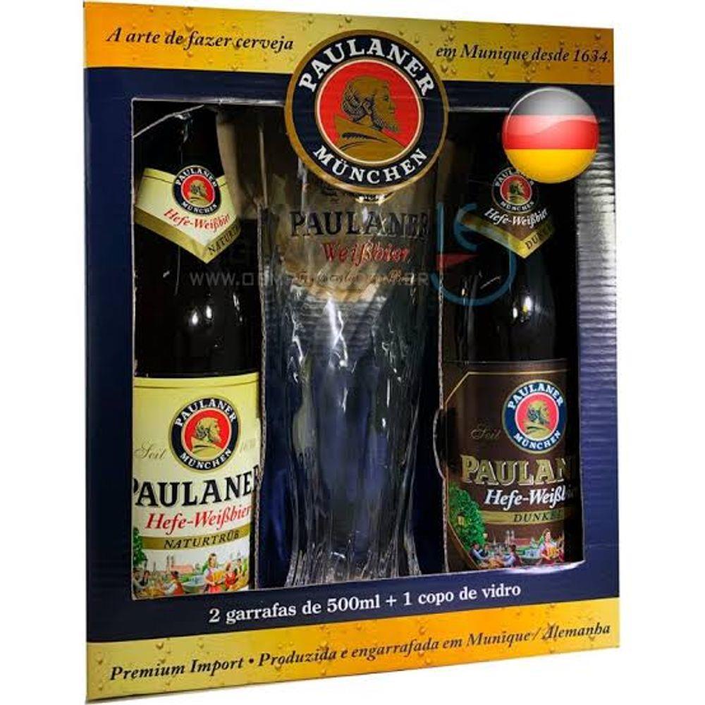 2 Cerveja Paulaner Hefe-Weissbier Naturtrub /Dunkel/ Copo 500ml