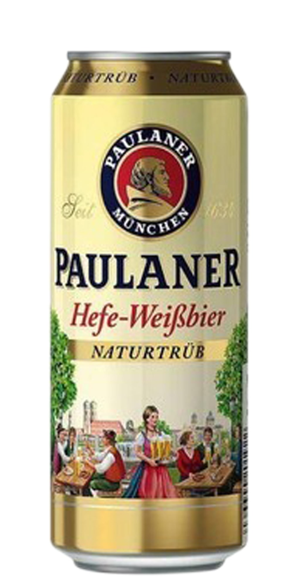 Cerveja Paulaner Hefe Weissbier Naturtrub lata 500ml