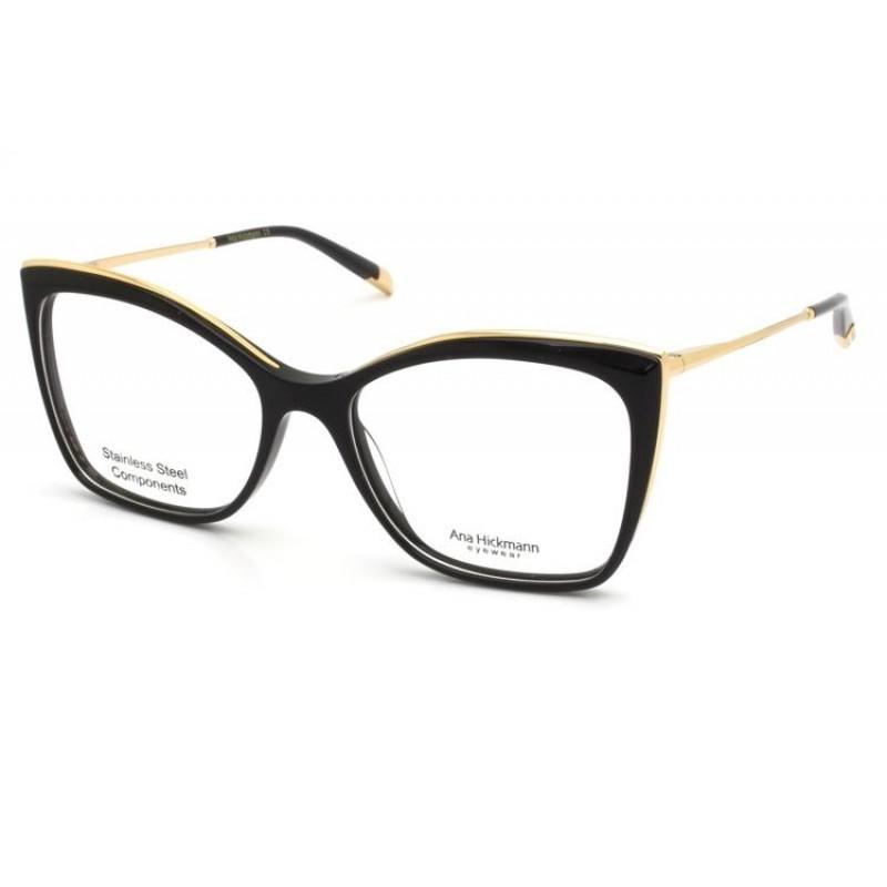 Óculos de Grau Ana Hickmann Preto/Dourado AH6384 - A01/54.5
