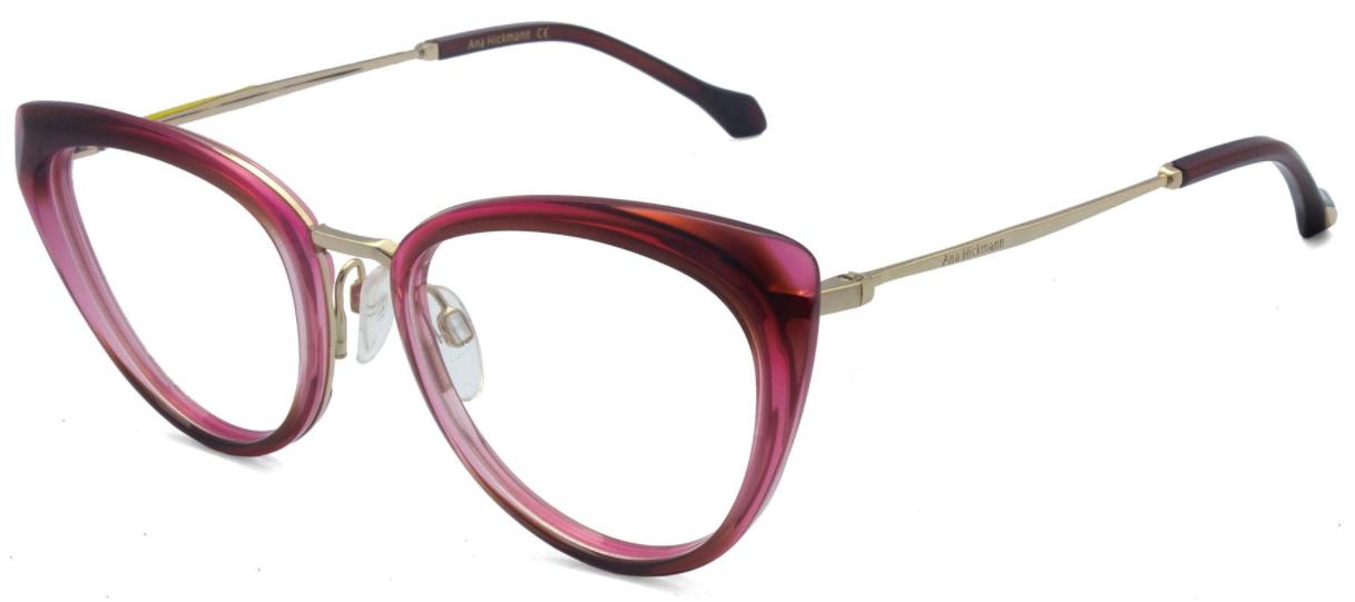 Óculos de Grau Ana Hickmann Vermelho Transparente AH6379 - C01/52.5