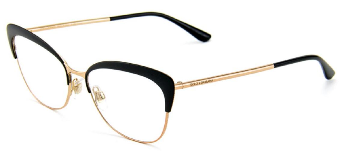 Óculos de Grau Dolce & Gabbana Preto/Dourado DG1298 - 01/54