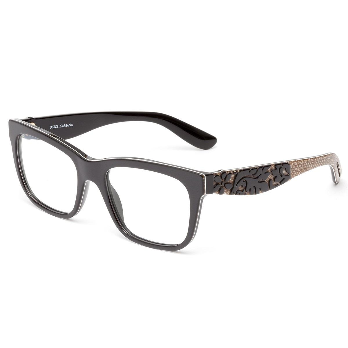 Óculos de Grau Dolce & Gabbana Preto/Marrom DG3239 - 2998/52