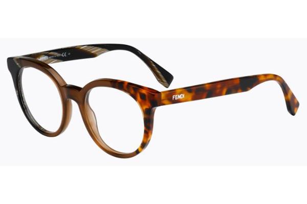 Óculos de Grau Fendi Havana/Marrom FF0065 - NEI/49