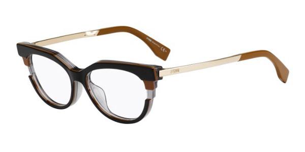 Óculos de Grau Fendi Marrom/Preto FF0116 - MVB/52