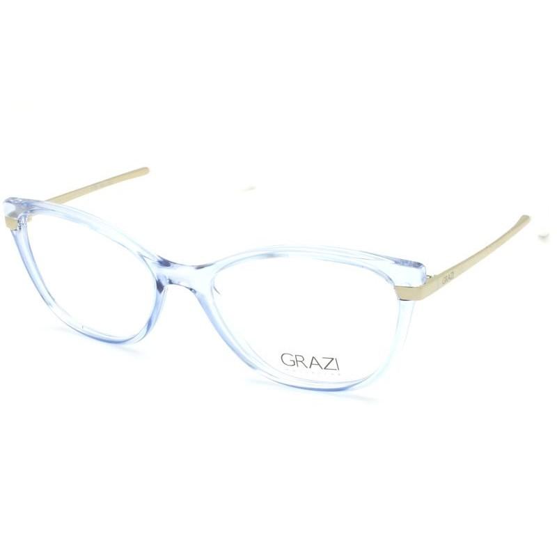 Óculos de Grau Grazi Azul Translúcido/Dourado GZ3056 - H037/52