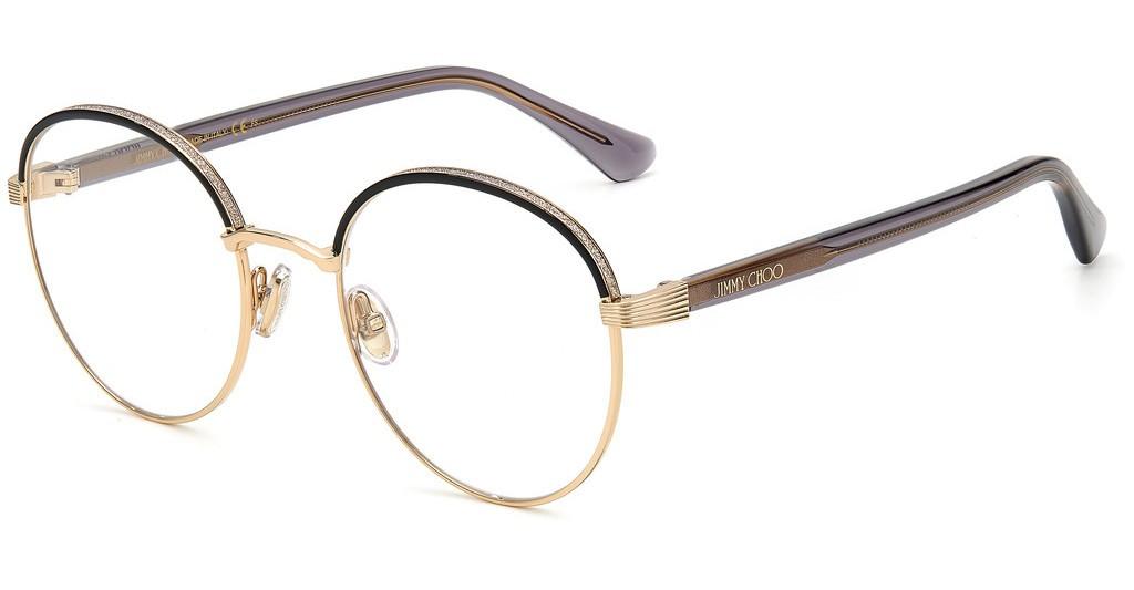Óculos de Grau Jimmy Choo Dourado/Preto JC267G - J5G/52