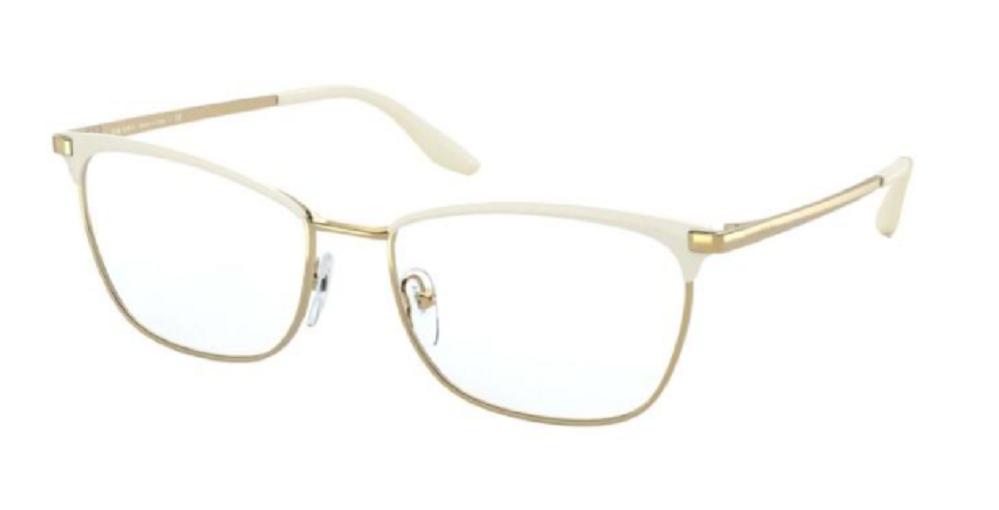 Óculos de Grau Prada Branco/Dourado PR 57WV - 04H1O1/55