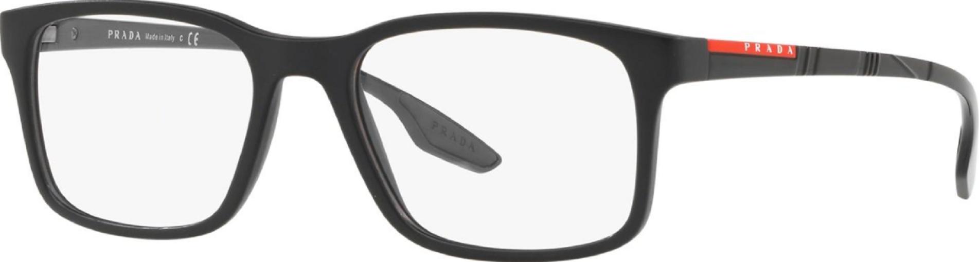 Óculos de Grau Prada Linea Rossa Preto Fosco PS 01LV 1BO1O1/54