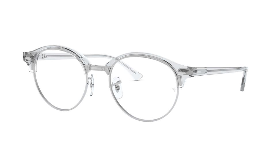 Óculos de Grau Ray-Ban Clubround Optics Transparente/Prata RB4246V - 2001/49