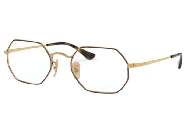 Óculos de Grau Ray-Ban Octagon Dourado/Tartaruga RB6456 - 2945/53