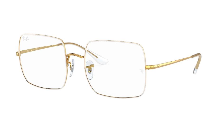 Óculos de Grau Ray-Ban Square Optics Branco/Dourado RB1971V - 3104/54