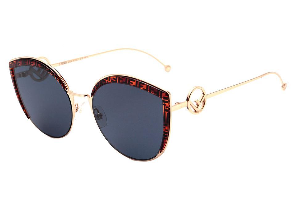 Óculos de Sol Fendi Dourado/Marrom FF0290/S - J5G/KU/58