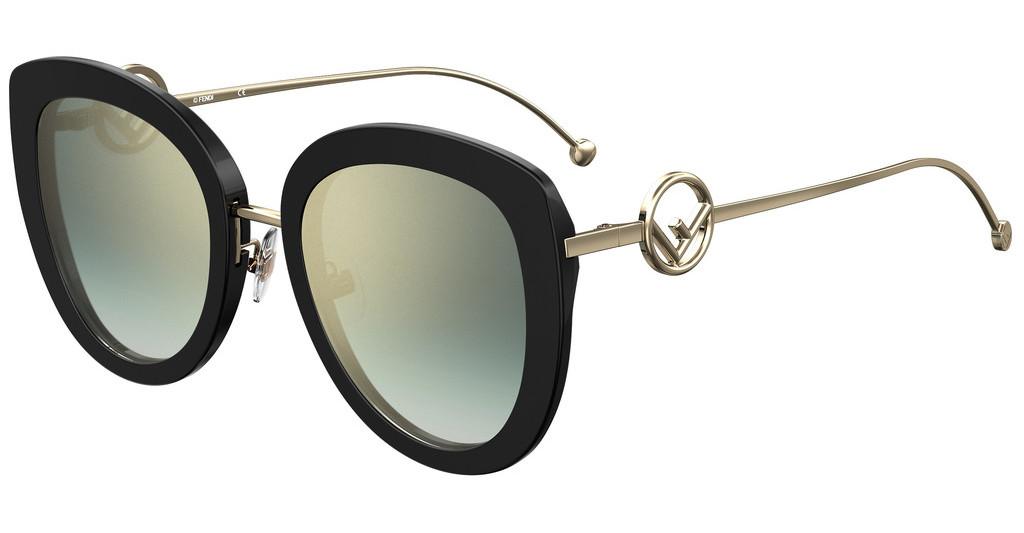 Óculos de Sol Fendi Dourado/Preto FF0409/S - 807/EZ/54