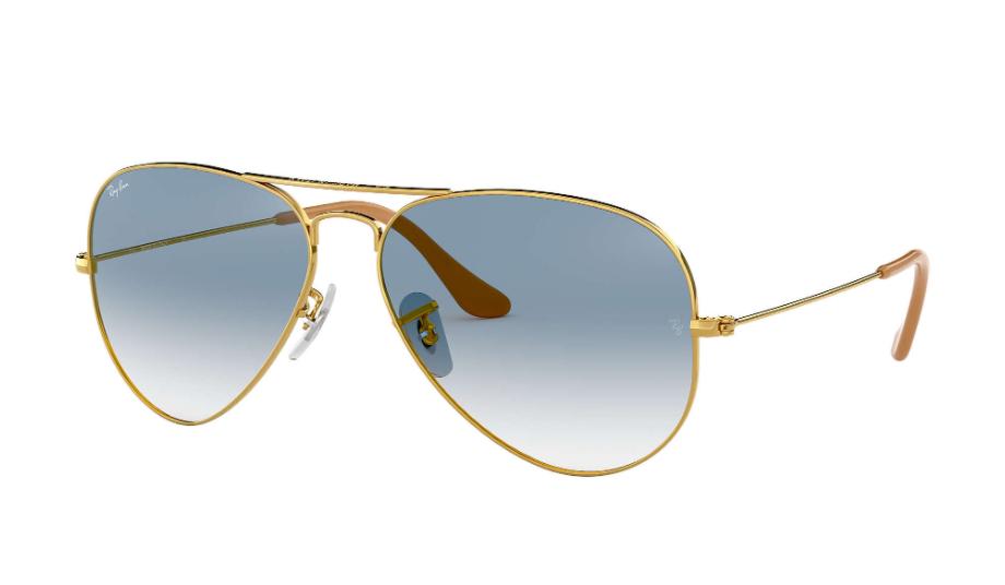 Óculos de Sol Ray-Ban Aviador Gradiente Dourado RB3025L - 001/3F/58