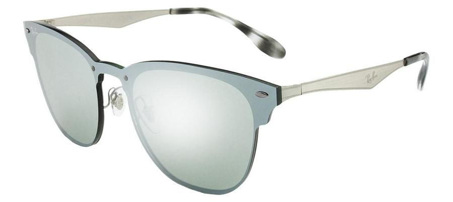 Óculos de Sol Ray-Ban Blaze Clubmaster Prata RB3576N - 042/30/52 Espelhado