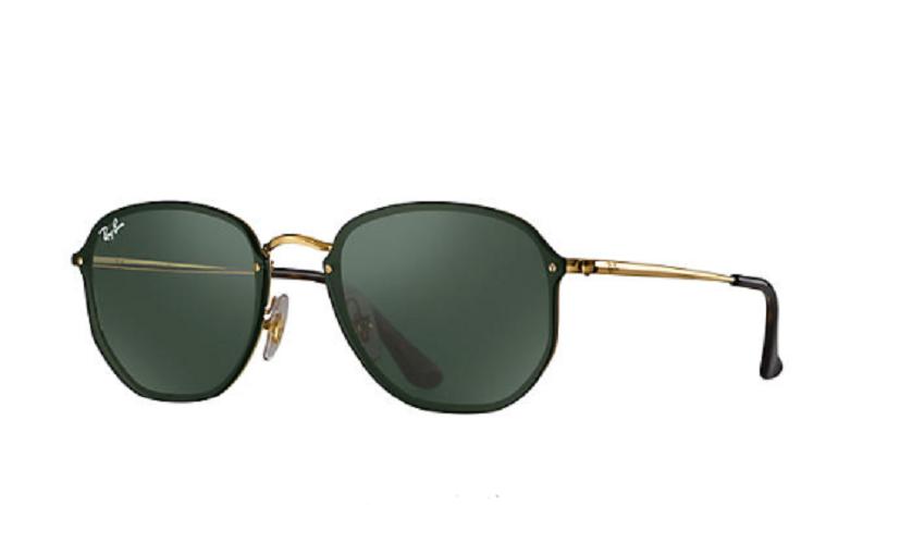 Óculos de Sol Ray-Ban Blaze Hexagonal Preto/Dourado RB3579N - 001/71/58