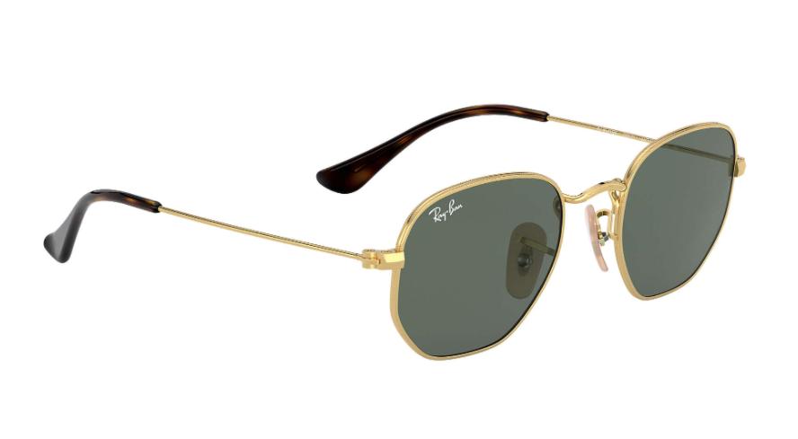 Óculos de Sol Ray-Ban Infantil Jr Hexagonal Dourado RJ9541SN - 223/71/44