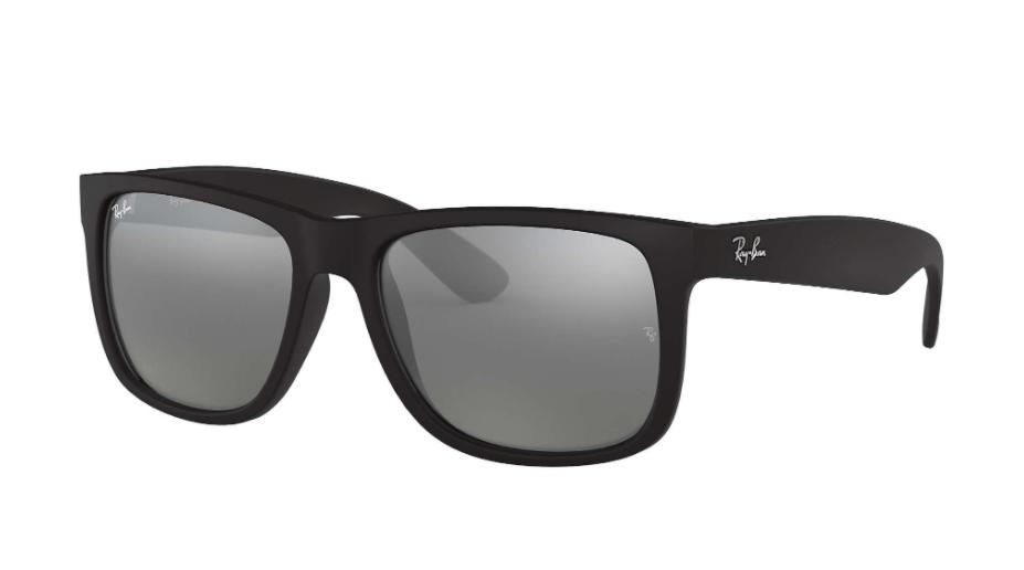 Óculos de Sol Ray-Ban Justin Preto Fosco RB4165L - 622/6G/57 Espelhado