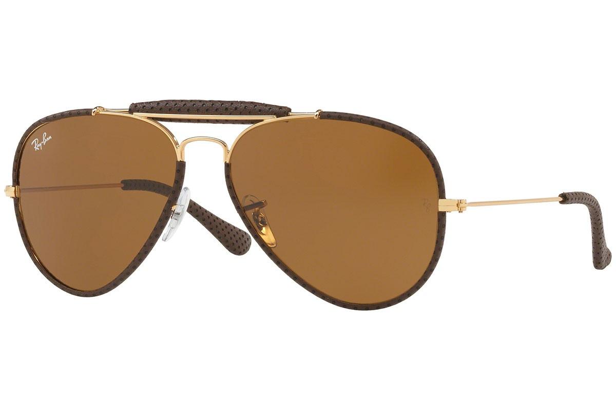 Óculos de Sol Ray-Ban Outdoorsman Craft Dourado/Marrom RB3422Q - 9041/58
