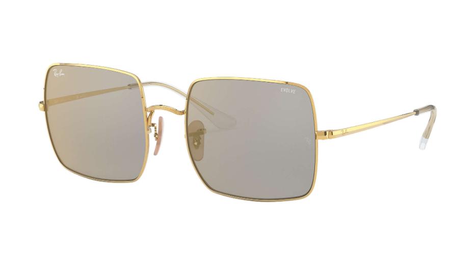 Óculos de Sol Ray-Ban Square Mirror Evolve Dourado/Cinza RB1971 - 001/B3/54