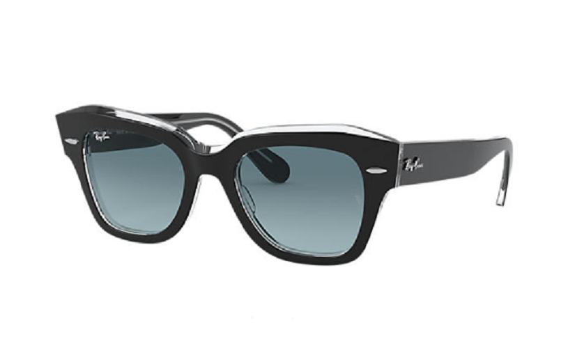 Óculos de Sol Ray-Ban State Street Preto/Transparente RB2186 - 12943M/49