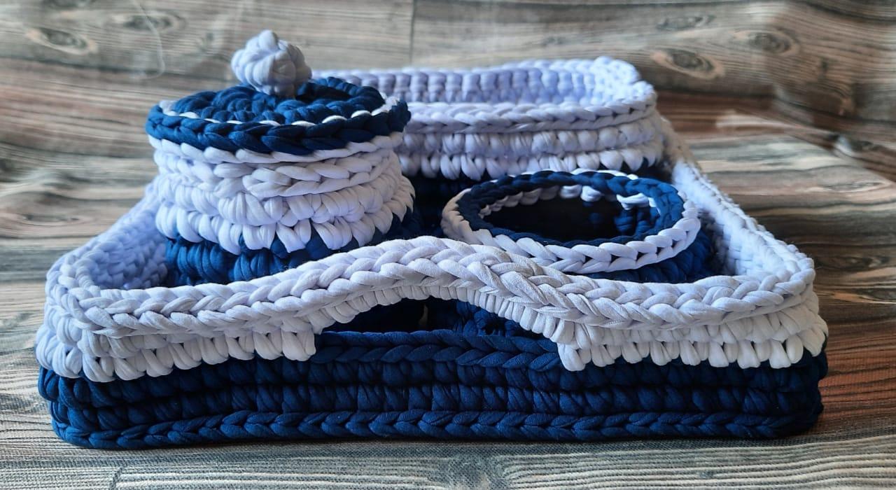Kit higiene em Fio de Malha- Azul Marinho