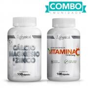 Combo Cálcio Magnésio e Zinco (100 Cápsulas) + Vitamina C 1000mg (100 Cápsulas)