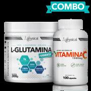 Combo L-Glutamina (300g) + Vitamina C 1000mg (100 Cápsulas) - Physical Pharma