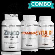 Combo Zinco (100 Cápsulas) + Vitamina C 1000mg (100 Cápsulas) + Vitamina D3 (120 Cápsulas)
