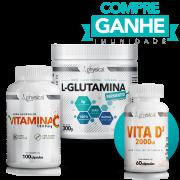 Compre L-Glutamina (300g) + Vitamina C 1000mg (100 Cápsulas) e Ganhe Vitamina D3 (60 Cápsulas)