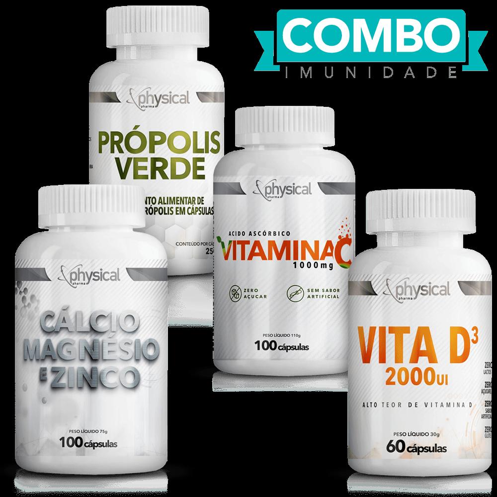 Combo Cálcio Magnésio e Zinco (100 Cáps) + Vitamina C 1000mg (100 Cáps) + Própolis Verde (60 Cáps) + Vitamina D3 (60 Cáps)