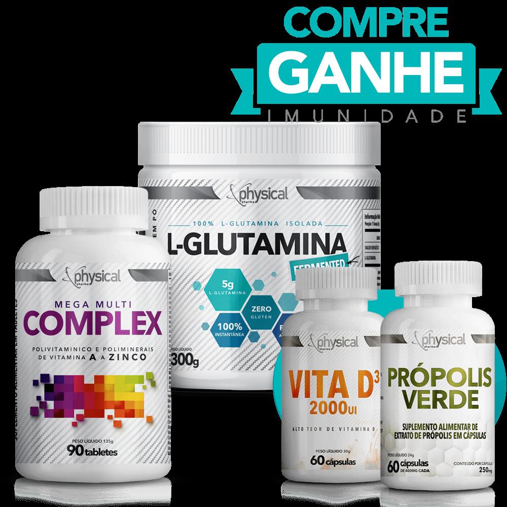 Compre L-Glutamina (300g) + Mega Multi Complex (90 Tabletes) e Ganhe Vitamina D3 (60 Cápsulas) + Própolis Verde (60 Cápsulas)