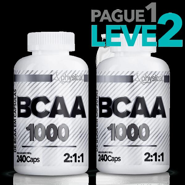 Pague 1 Leve 2 - BCAA 1000 - 500mg (240 Cápsulas) - Physical Pharma - Val 06/21