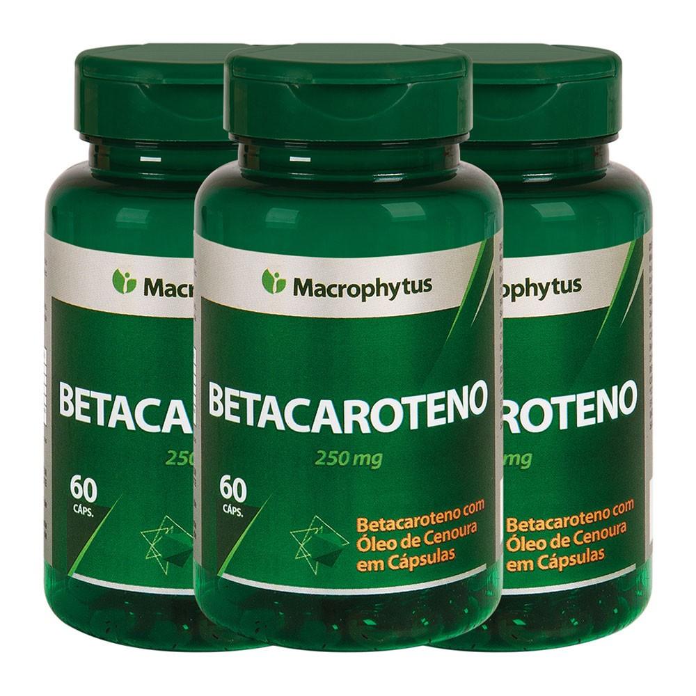 Kit 3 Betacaroteno 500mg 60 cápsulas