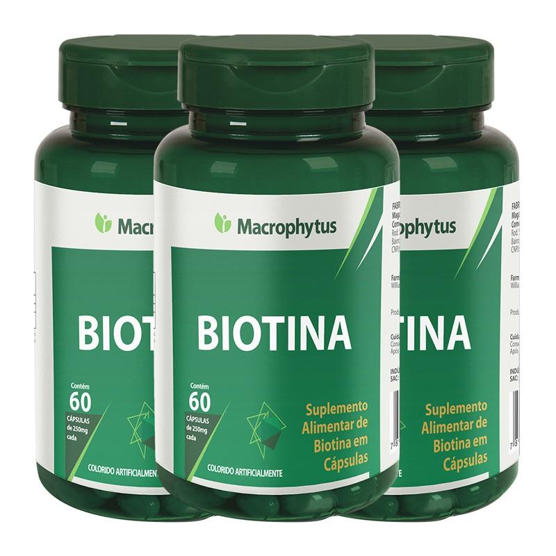 Kit 3 Biotina 250mg 60 cápsulas