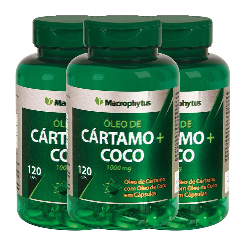 Kit 3 Cártamo Com Coco 1000mg 120 cápsulas