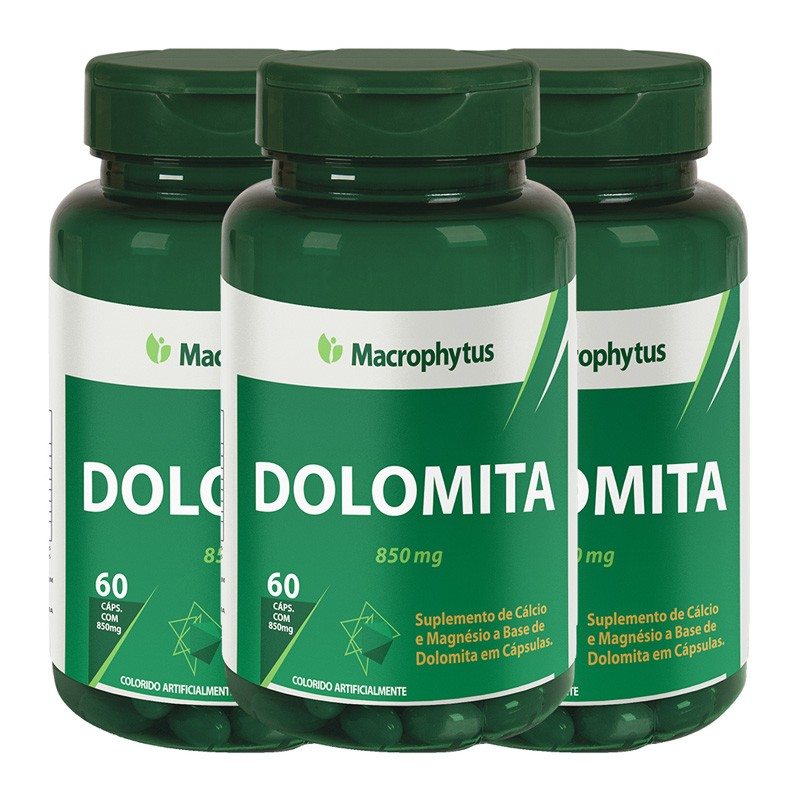 Kit 3 Dolomita 850mg 60 cápsulas