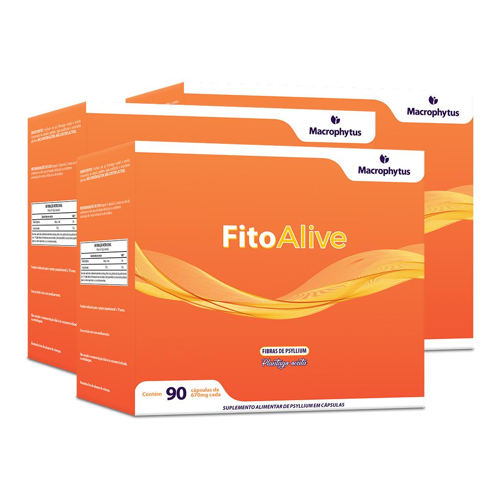 Kit 3 FitoAlive 670mg 90 cápsulas (Psyllium)
