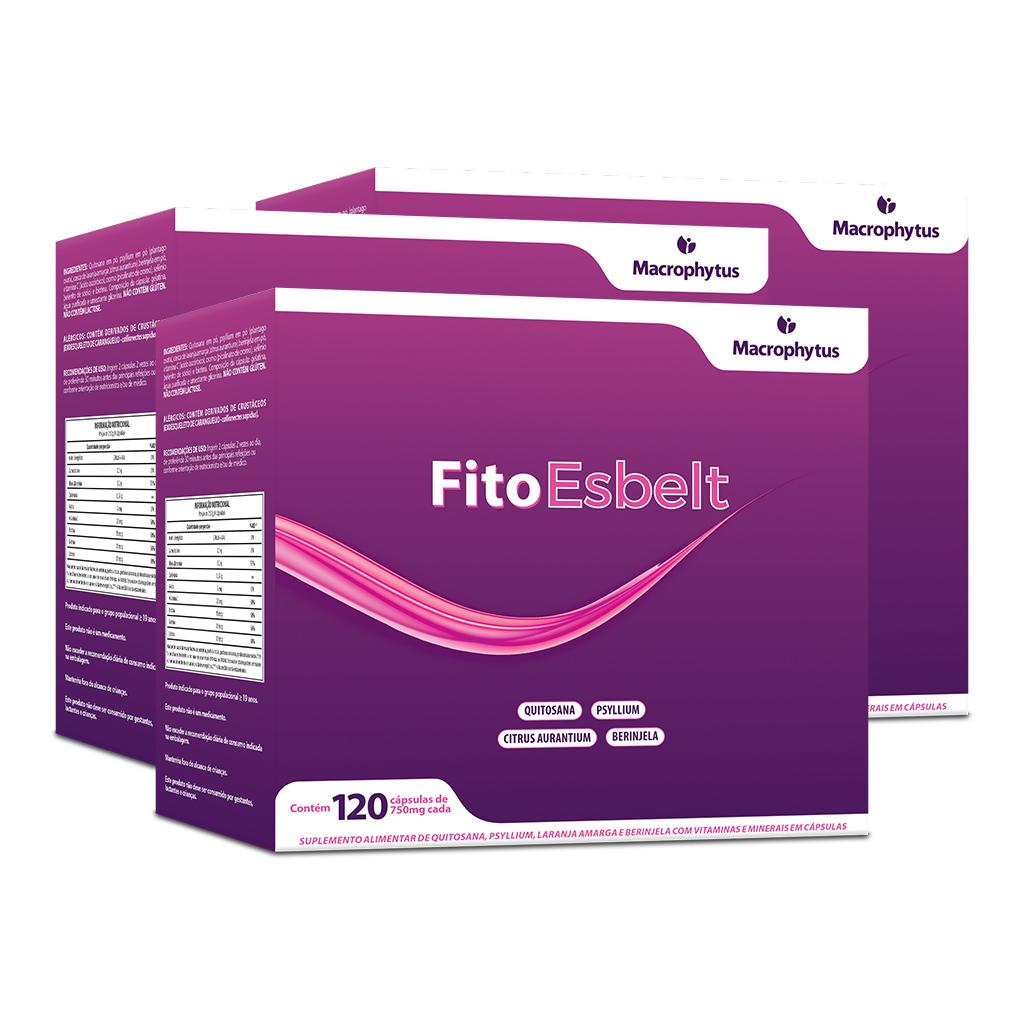 Kit 3 FitoEsbelt 750mg 120 cápsulas (Emagrecedor)