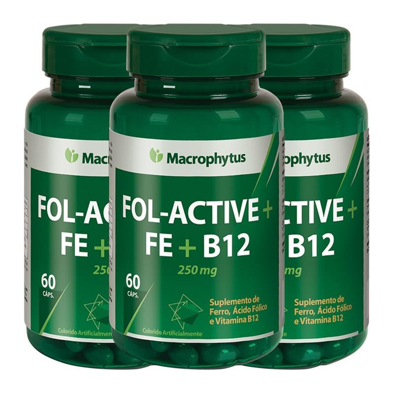 Kit 3 Fol-active + Fe + B12 250mg 60 cápsulas