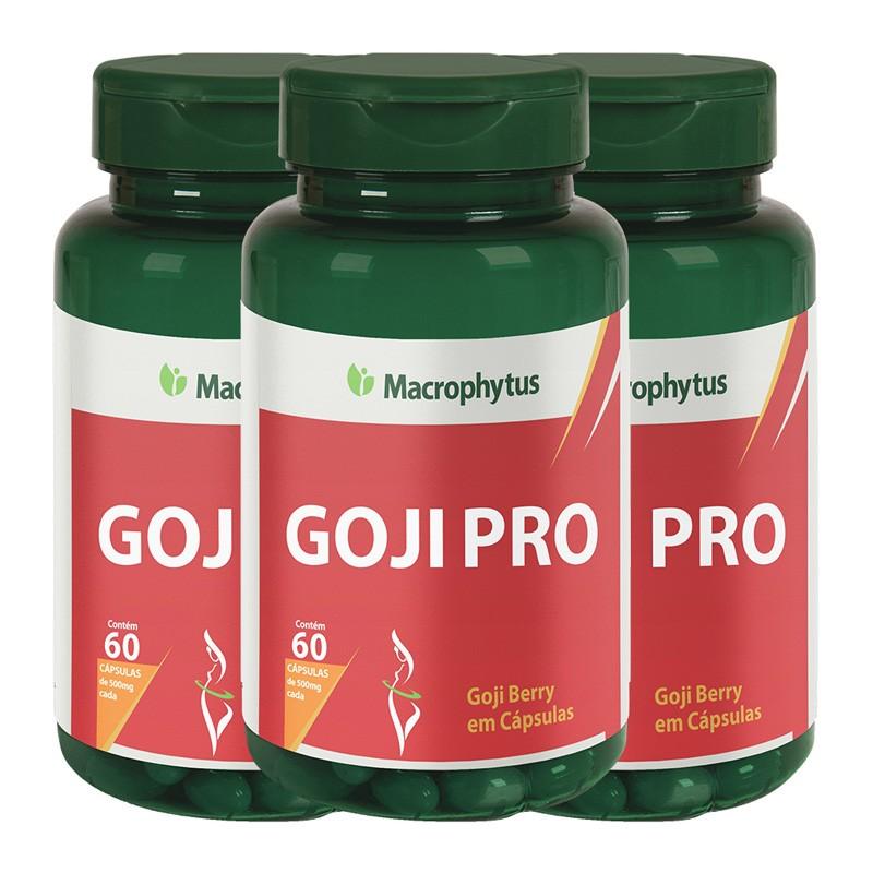 Kit 3 Goji Pro 500mg 60 cápsulas