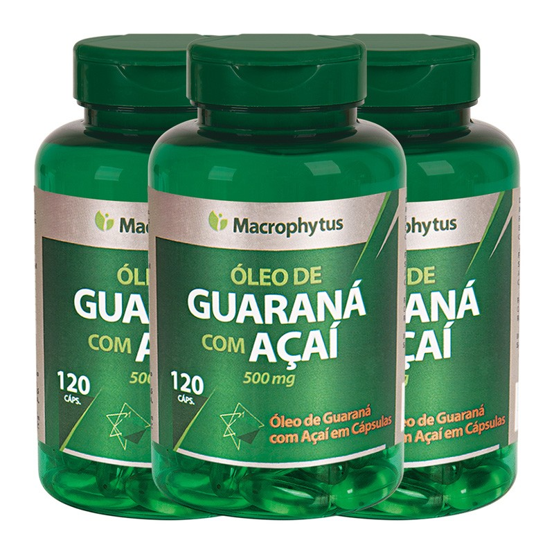 Kit 3 Guaraná Com Açaí 500mg 120 cápsulas
