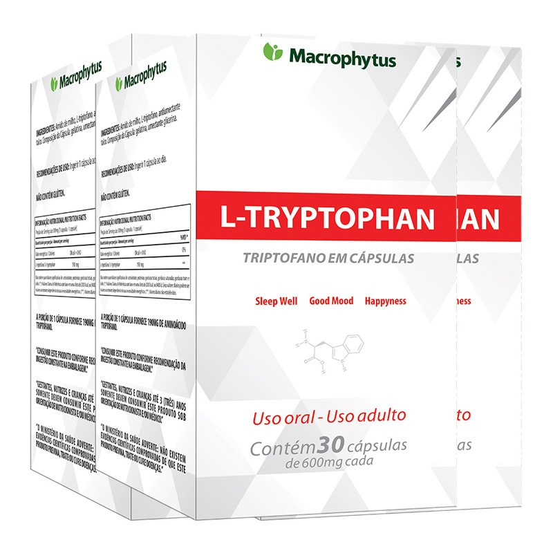 Kit 3 L-tryptophan (triptofano) 500mg 30 cápsulas