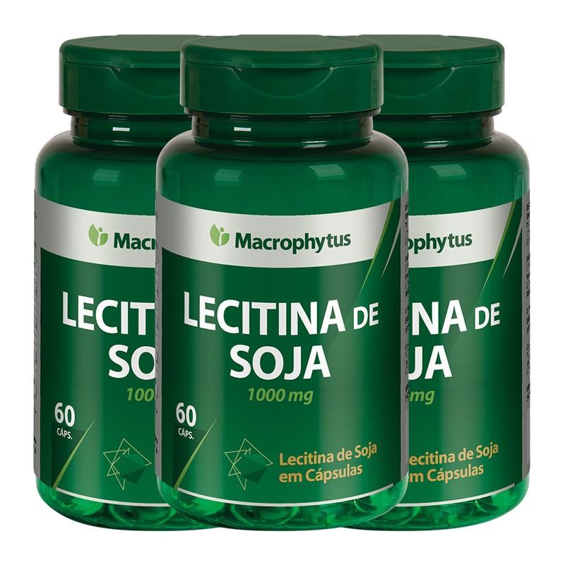 Kit 3 Lecitina De Soja 1000mg 60 cápsulas