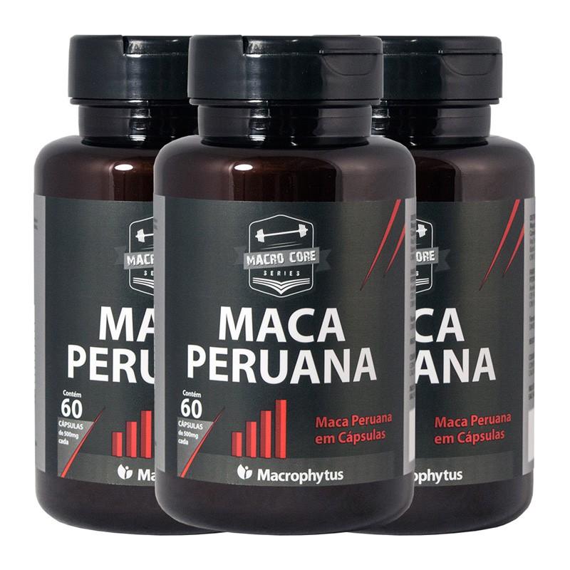 Kit 3 Maca Peruana 500mg 60 cápsulas